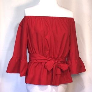 Zanzea Red Off Shoulder Polyester Blouse Sm NWT